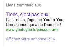Lien sponsorisé Google à droite : Tiens, c'est pas eux