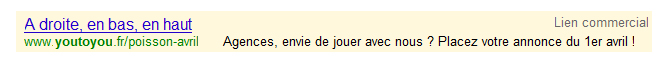 Lien sponsorisé Google : You to You