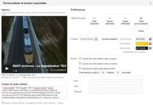 Dailymotion : Interface de personnalisation code embed