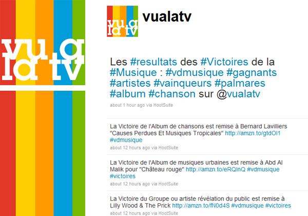 vualatv Victoire de la Musique Live Tweet