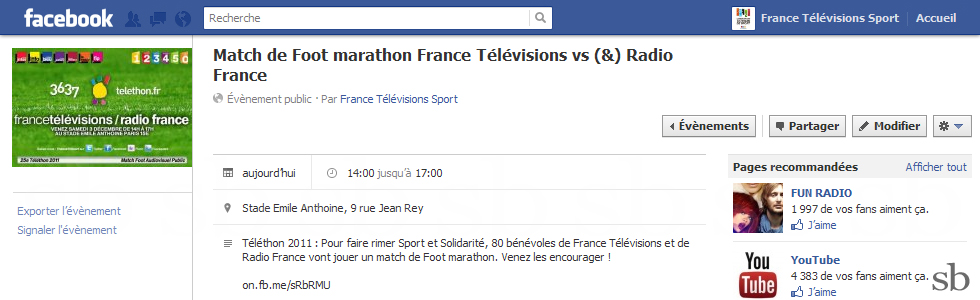 ftv radiofrance telethon evenement facebook