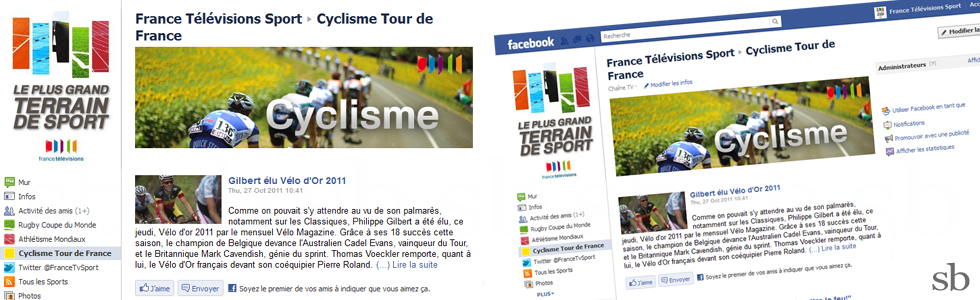france televisions facebook application rss velo