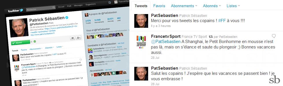 mondiaux de natation ftv patrick sebastien retweete
